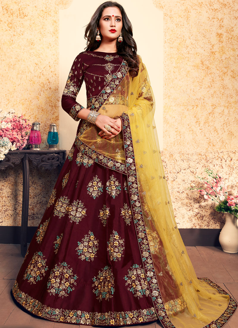 Satin Zari Brown Designer Lehenga Choli
