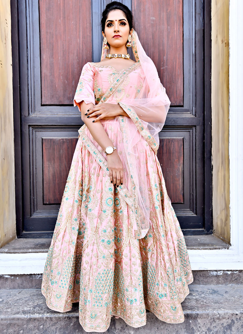 Satin Zari Lehenga Choli in Pink