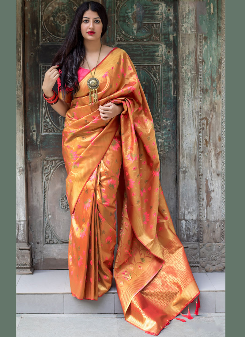 Savory Weaving Art Silk Orange Traditional Designer Saree