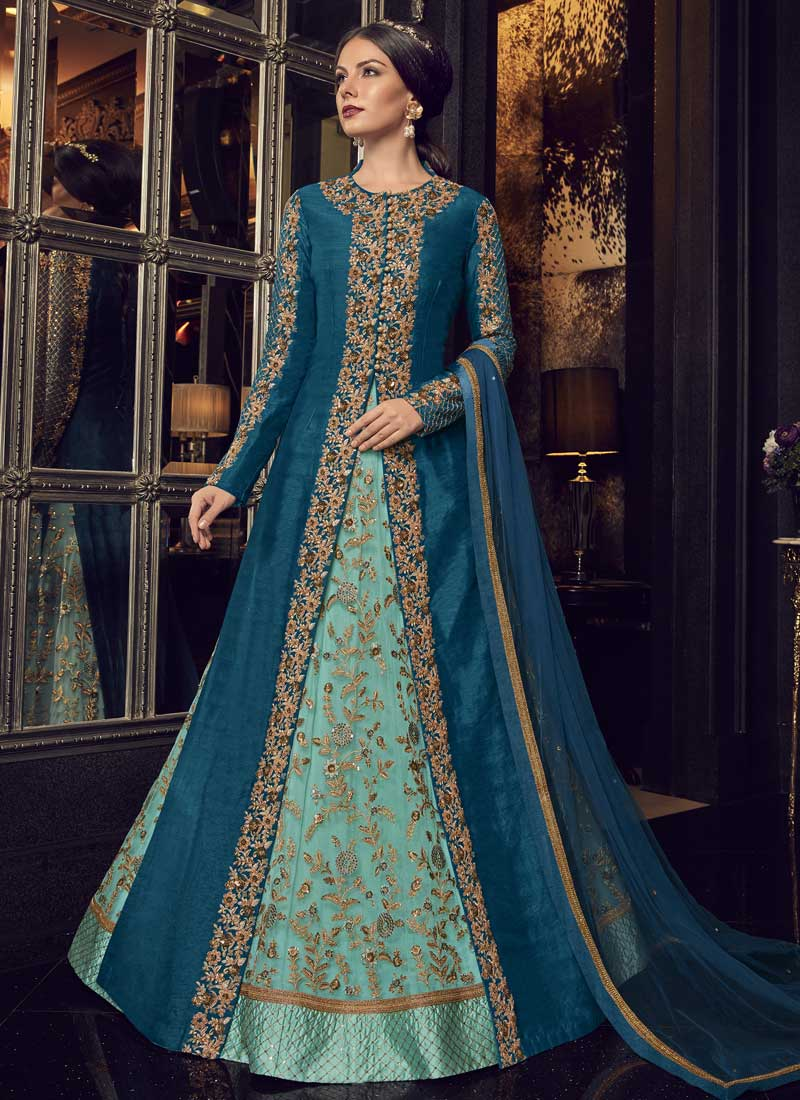 Sea Green and Teal Color Floor Length Anarkali Suit