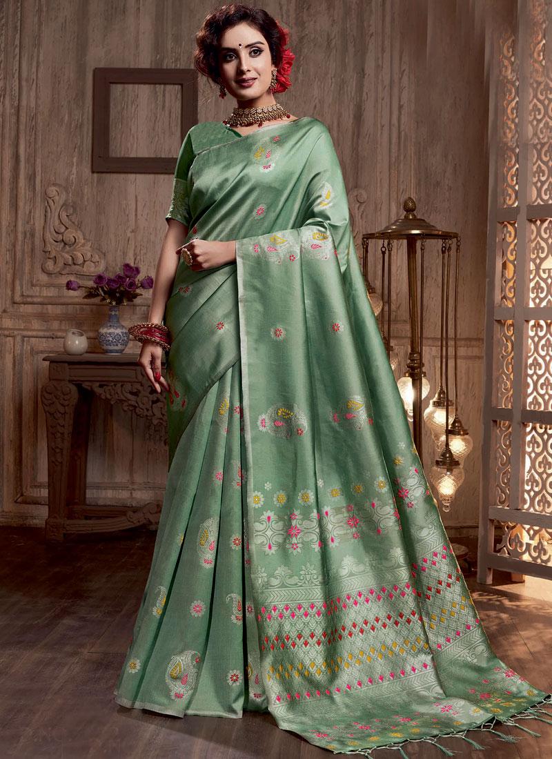 Sea Green Art Silk Designer Traditional Saree