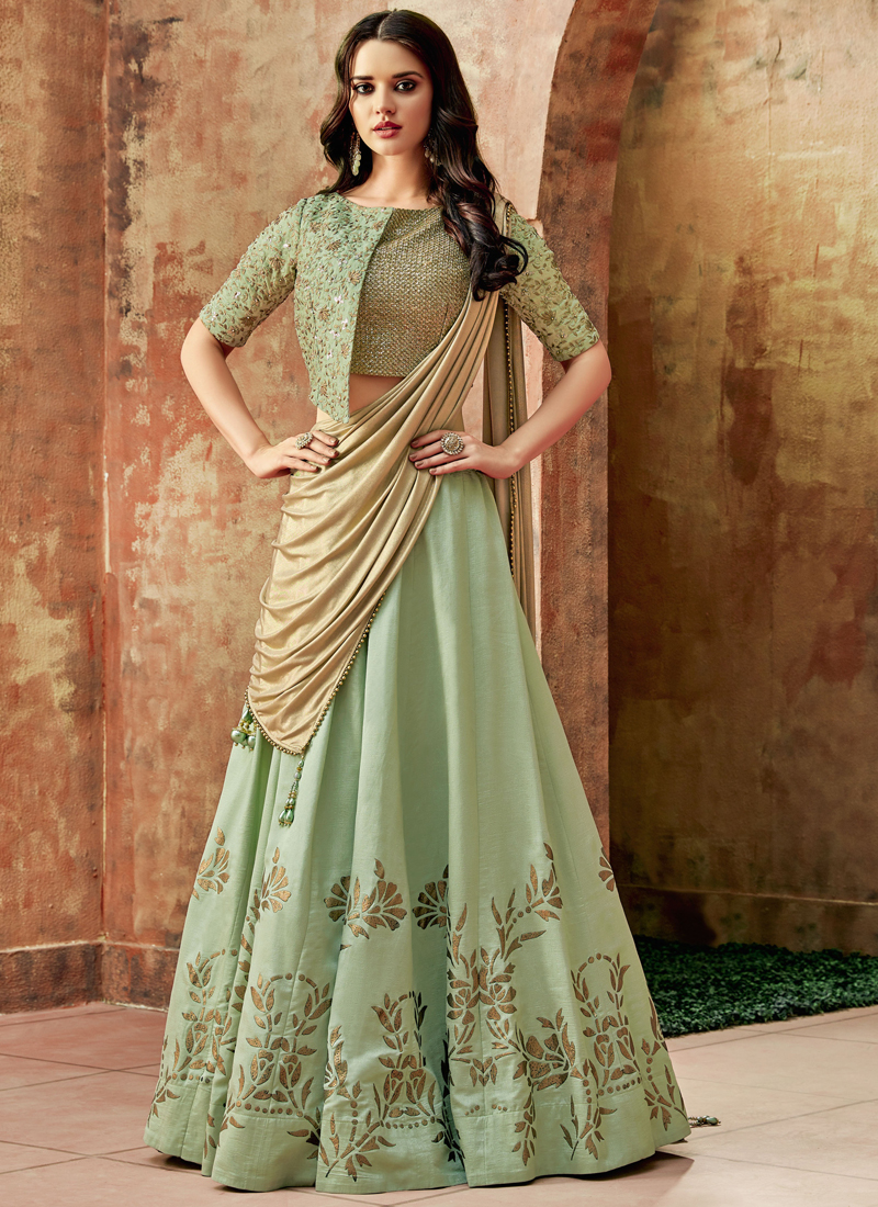 Sea Green Art Silk Resham Lehenga Choli