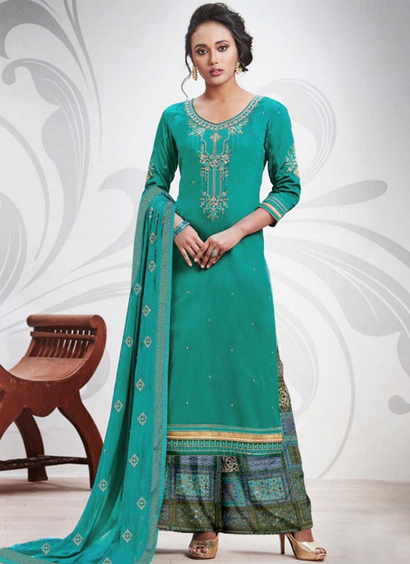Sea Green Cotton Silk Embroidered Salwar Suit