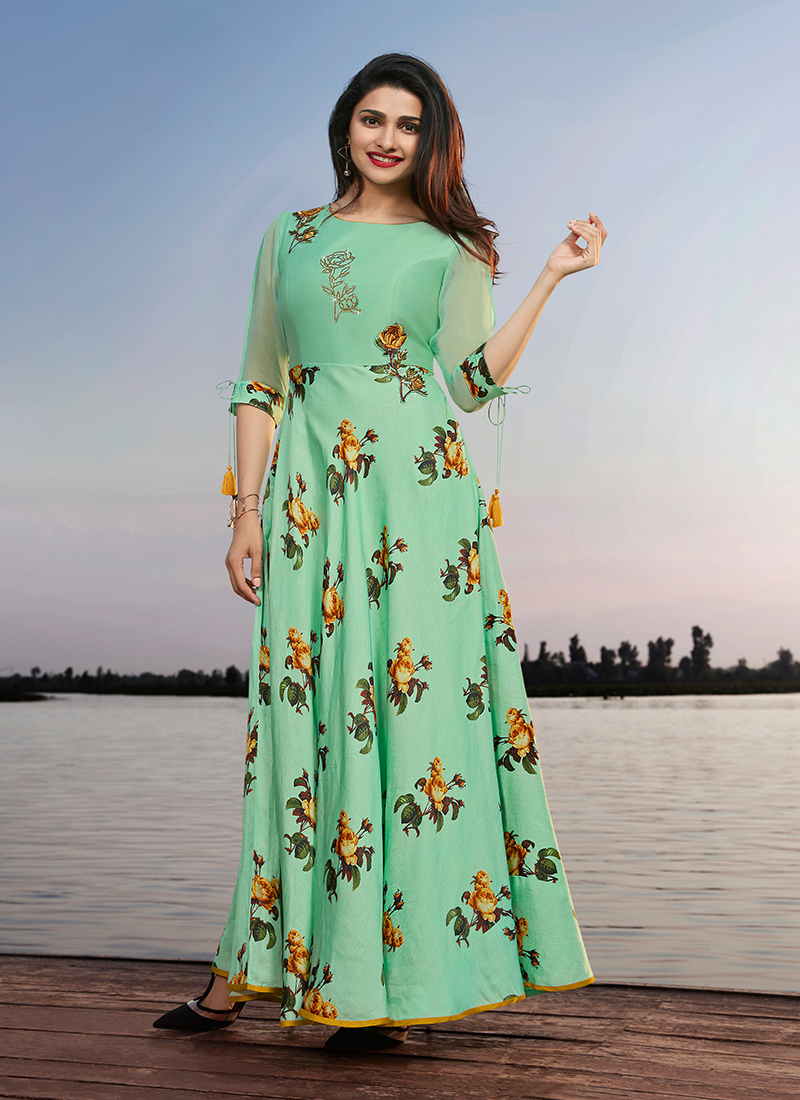 Sea Green Embroidered Faux Georgette Party Wear Kurti