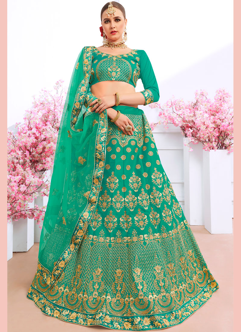 Sea Green Embroidered Mehndi Trendy Lehenga Choli