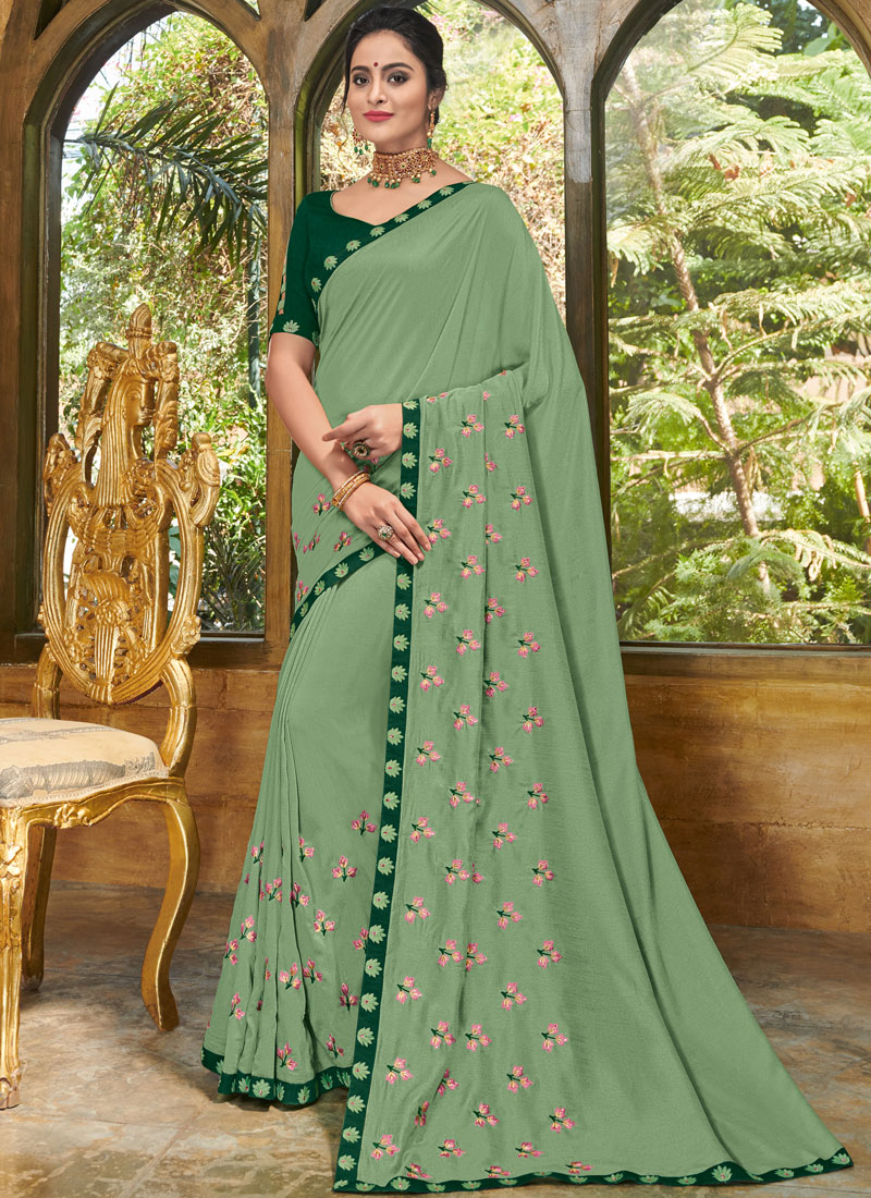 Sea Green Faux Georgette Party Designer Traditional Saree