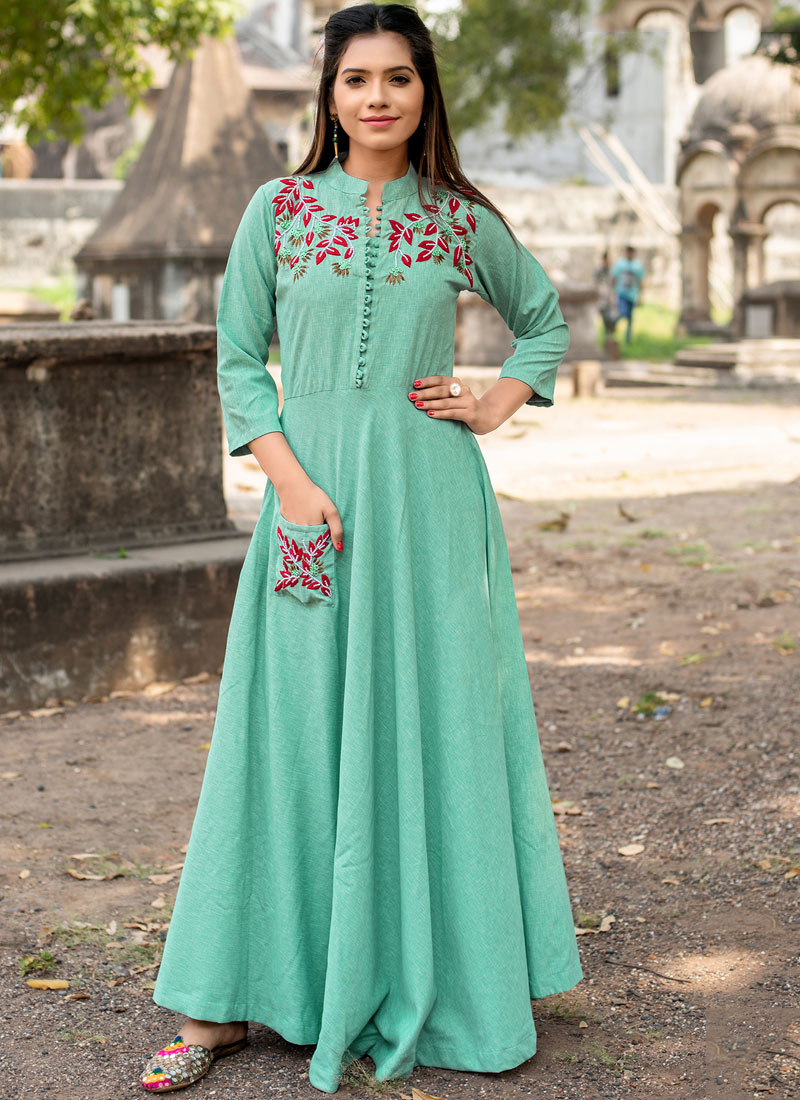 Sea Green Festival Floor Length Kurti