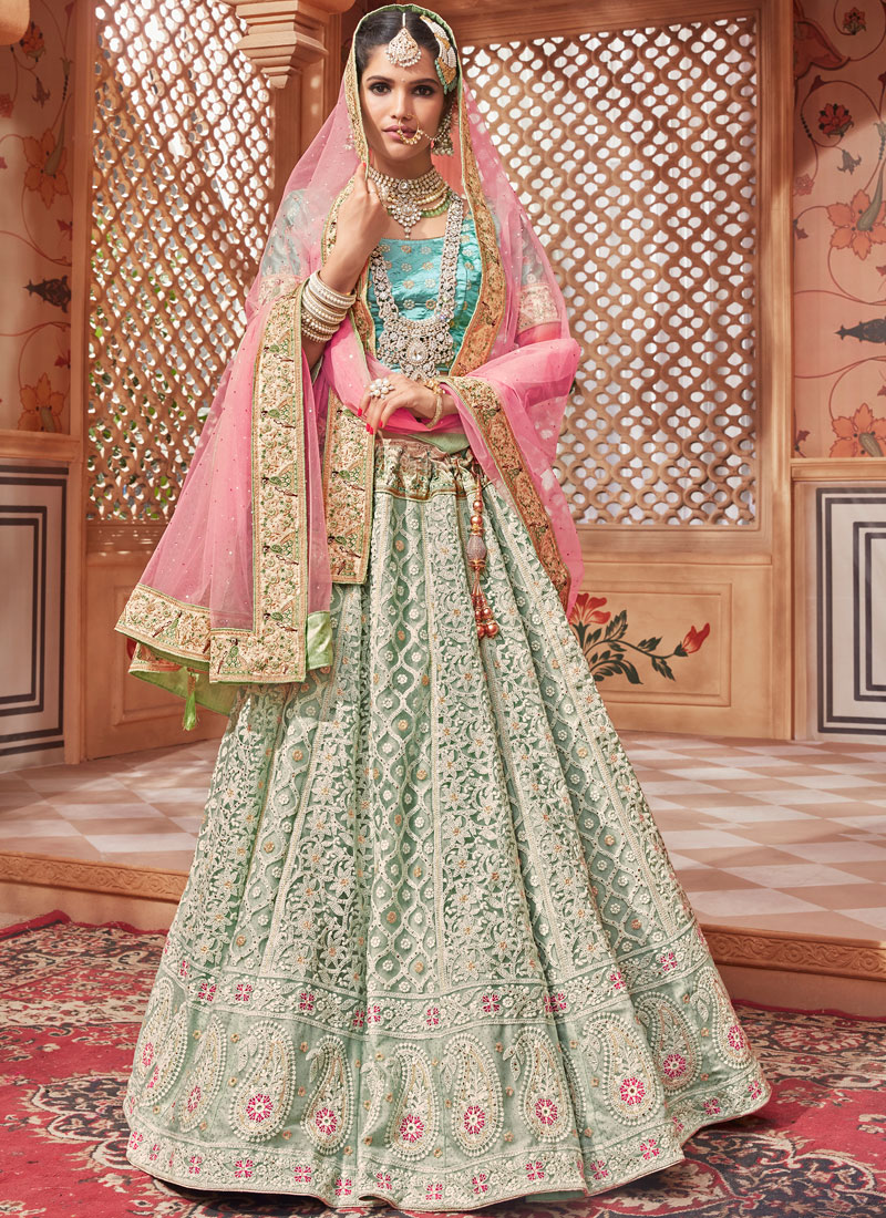 Sea Green Net Bridal Lehenga Choli