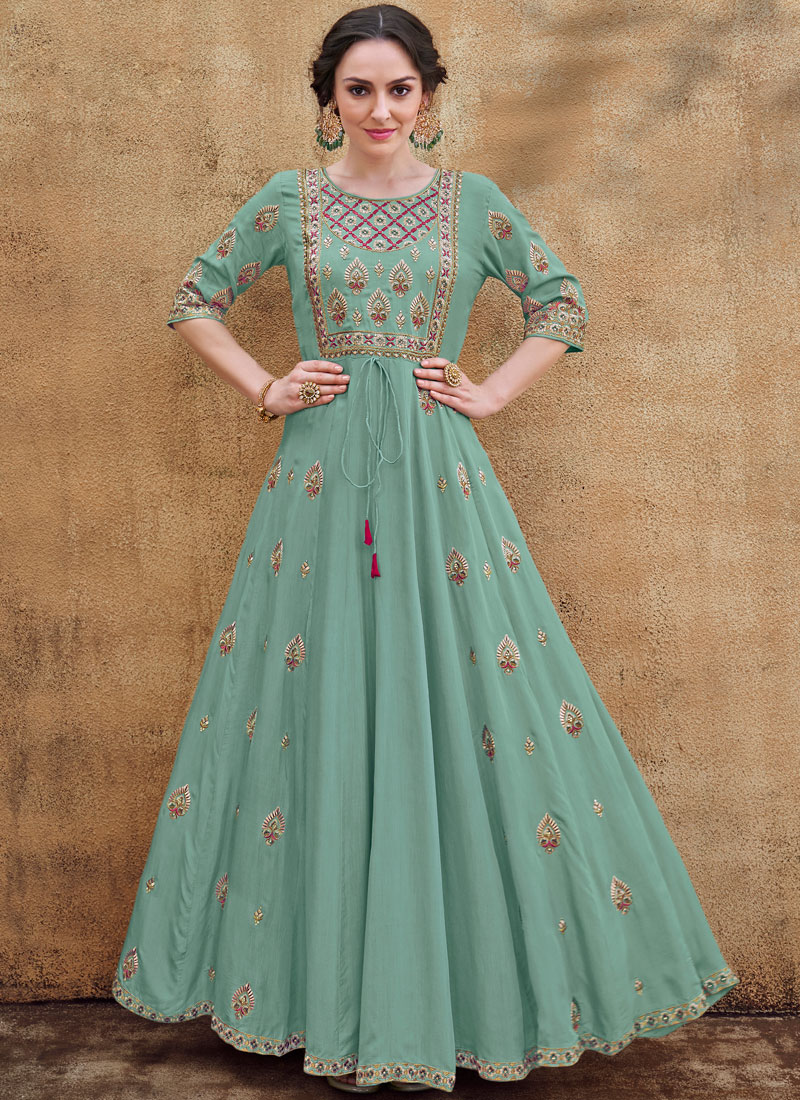 Sea Green Party Readymade Gown