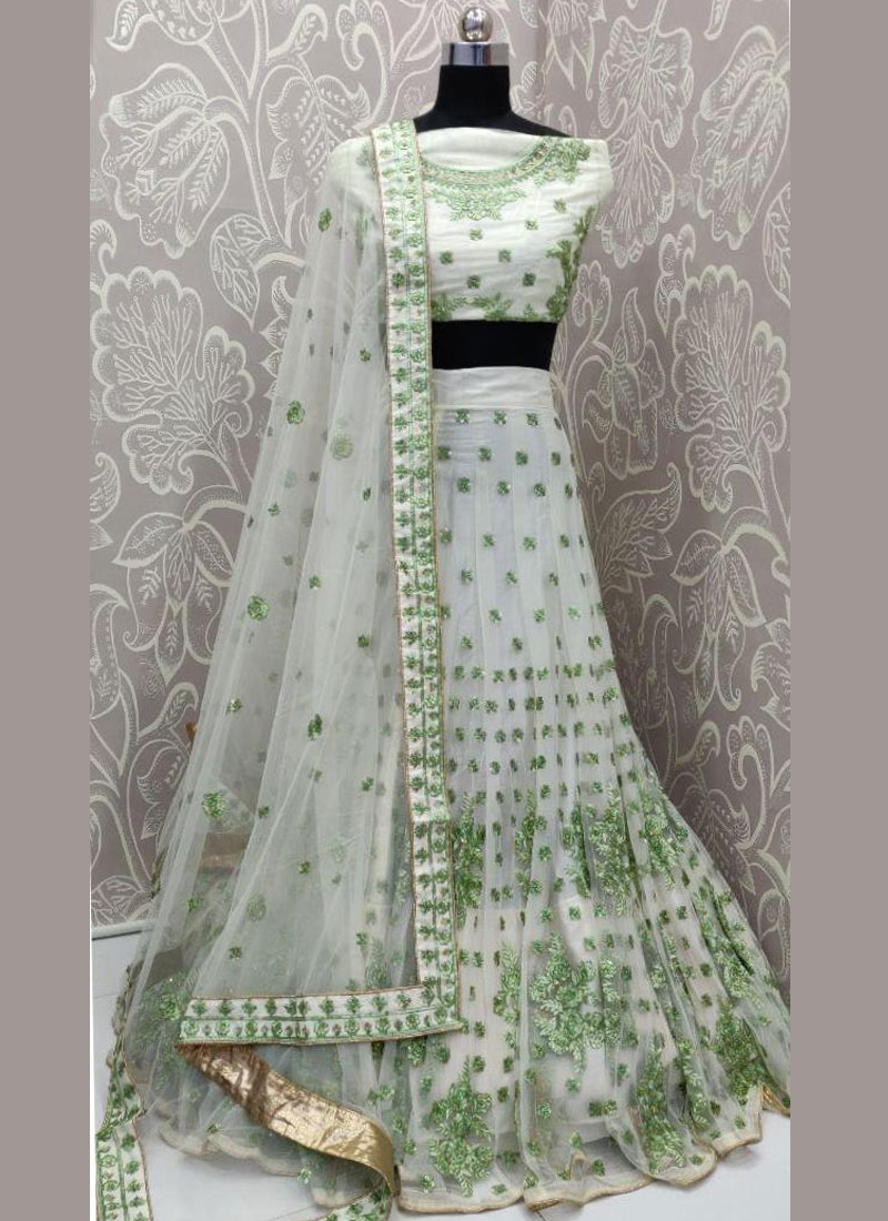 Sea Green Sangeet Net Lehenga Choli in full flair
