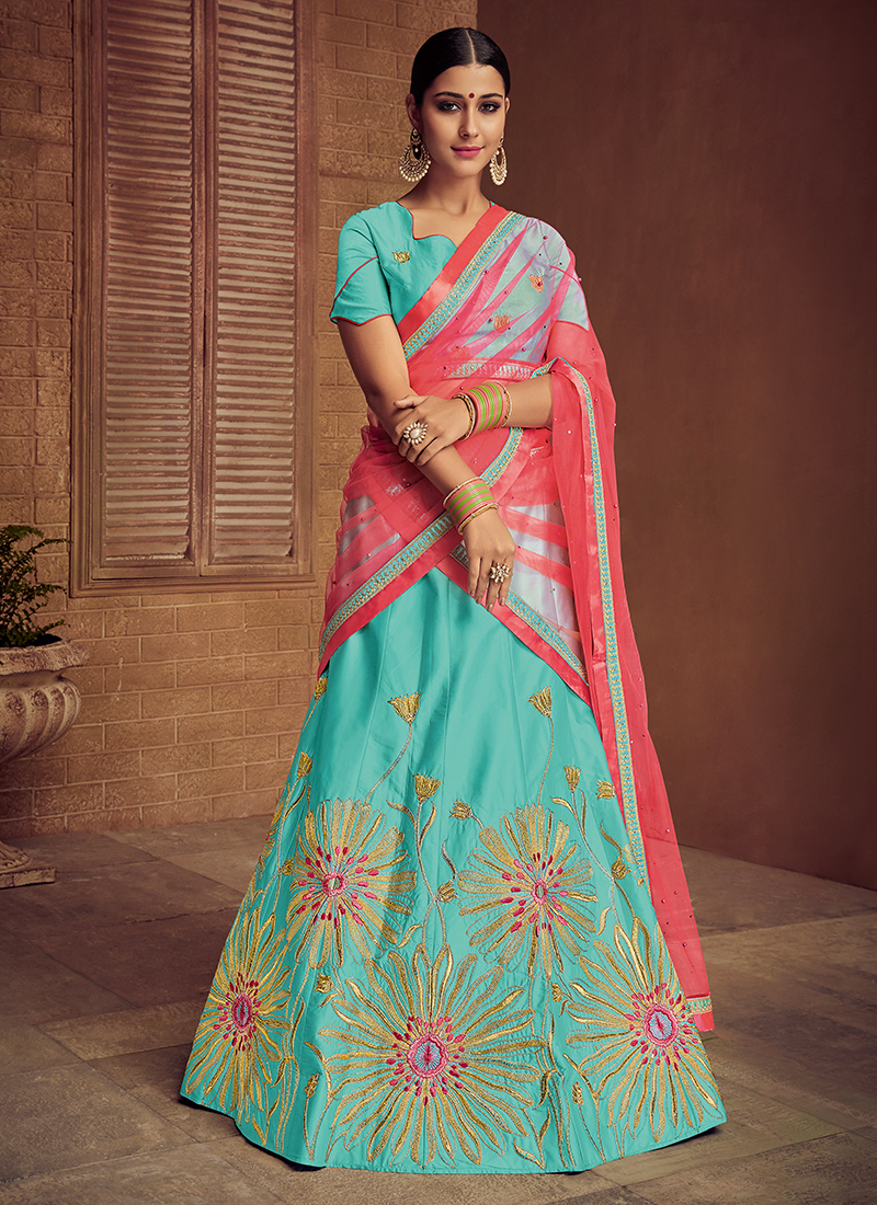 Sea Green Satin Silk Embroidered Trendy Lehenga Choli