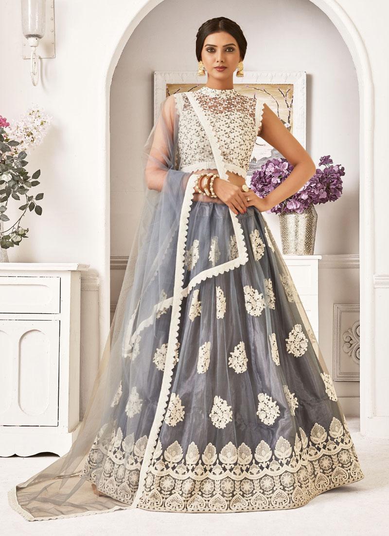 Semi Bridal Thread & Zari Work Lehenga Choli In Grey