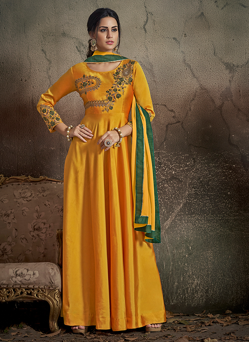 Sensational Art Silk Embroidered Yellow Readymade Gown