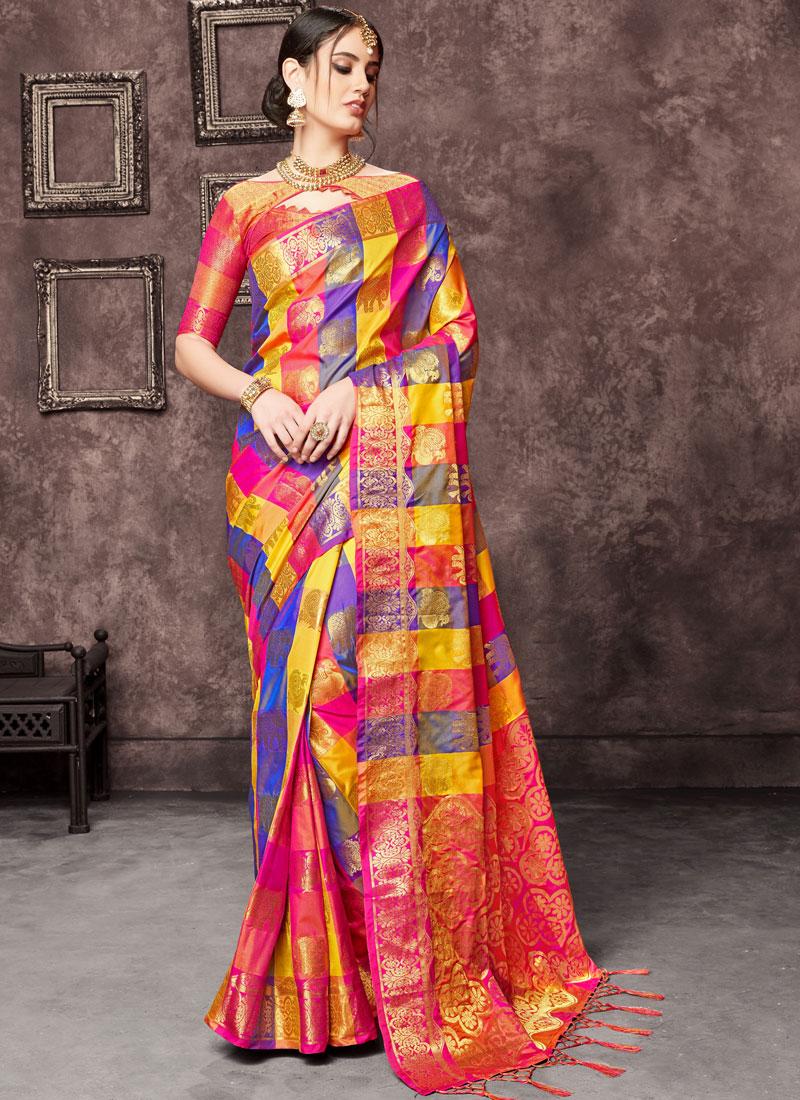 Sensational Pink Zari Traditional Saree