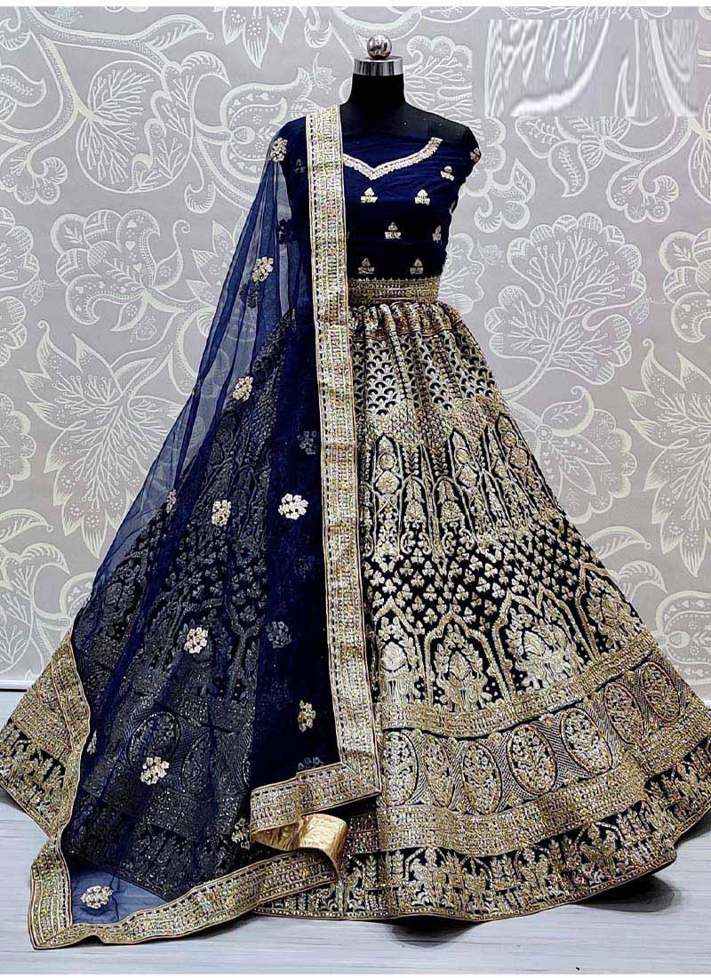 Sensuous Blue Heavy Net Dori Embroidered Designer Wedding Lehenga Choli