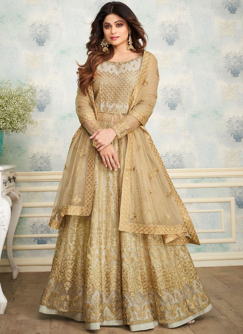 Shamita Shetty Beige Satin Embroidered Designer Lehenga Choli