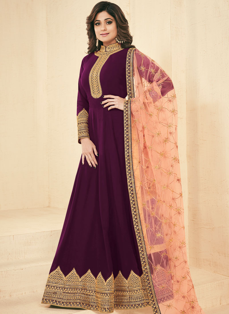 84ecea6eb3 Home » Salwar Suits. Sale. Shamita Shetty Purple Floor Length Anarkali Suit.  Hover to zoom