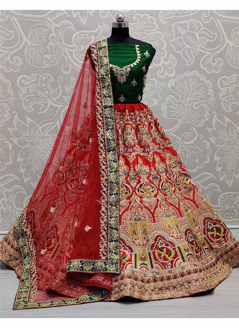Silk Crafted Designer Embroidery Work Wedding Lehengacholi In Red - Green