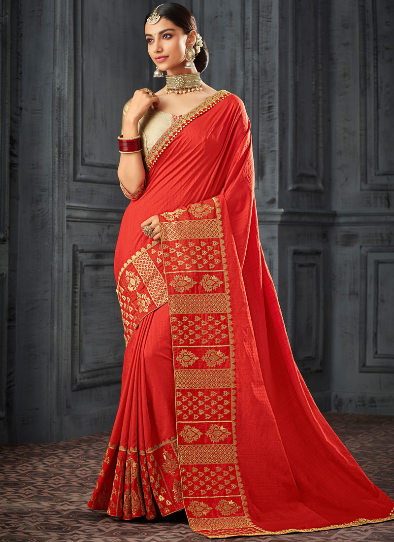 2bbe5c8c0f2 Silk Embroidered Designer Saree in Red. Tap to expand