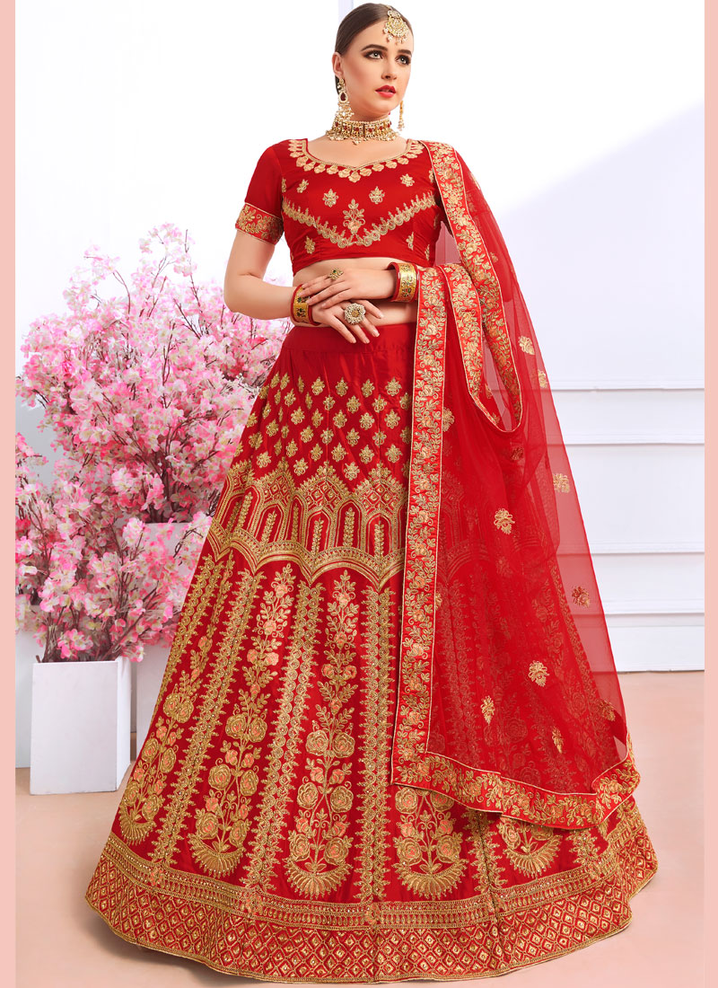 Silk Maroon Embroidered Designer Lehenga Choli