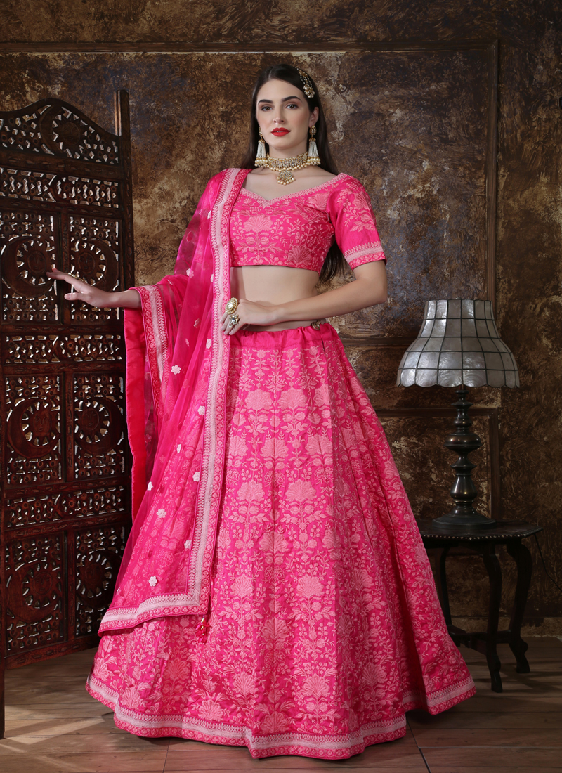 Silk Wedding Lehenga in Pink and Majenta color  with Resham and Lakhnaviwork