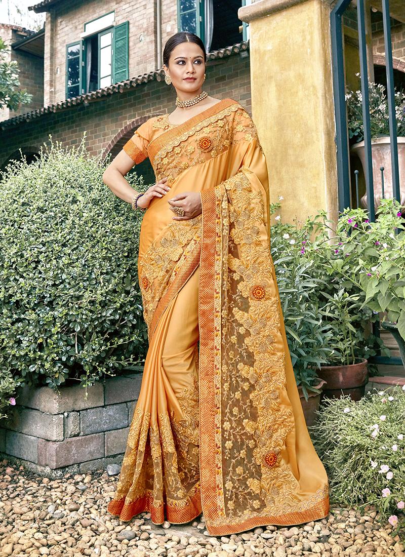 Simplistic Faux Georgette Yellow Resham Traditional Saree