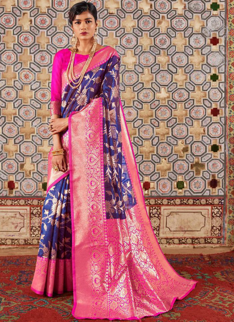 Simplistic Weaving Blue Designer Traditional Saree