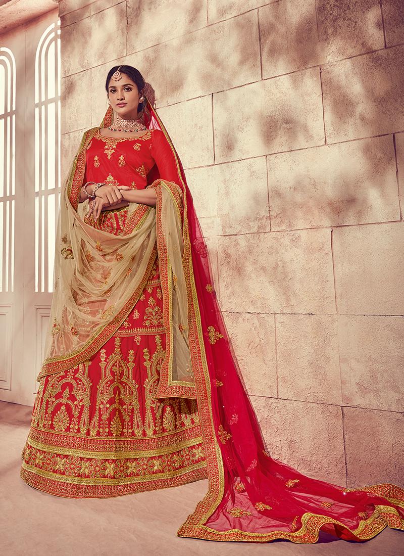 dc6b523ee3 Snazzy Art Silk Red Embroidered Designer Lehenga Choli