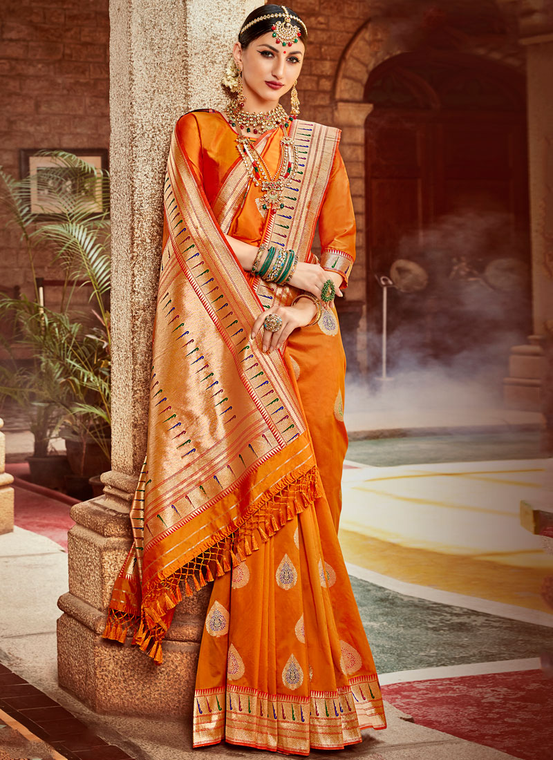 Snazzy Banarasi Silk Weaving Designer Saree in Orange