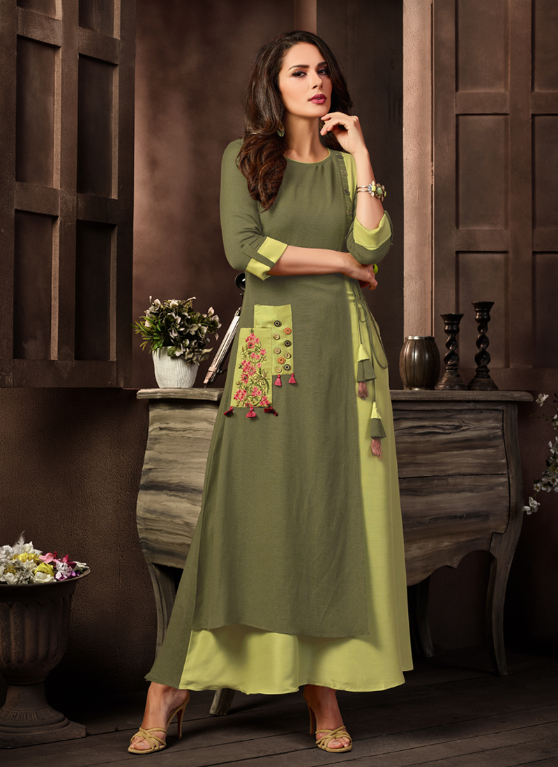 Snazzy Embroidered Green Party Wear Kurti