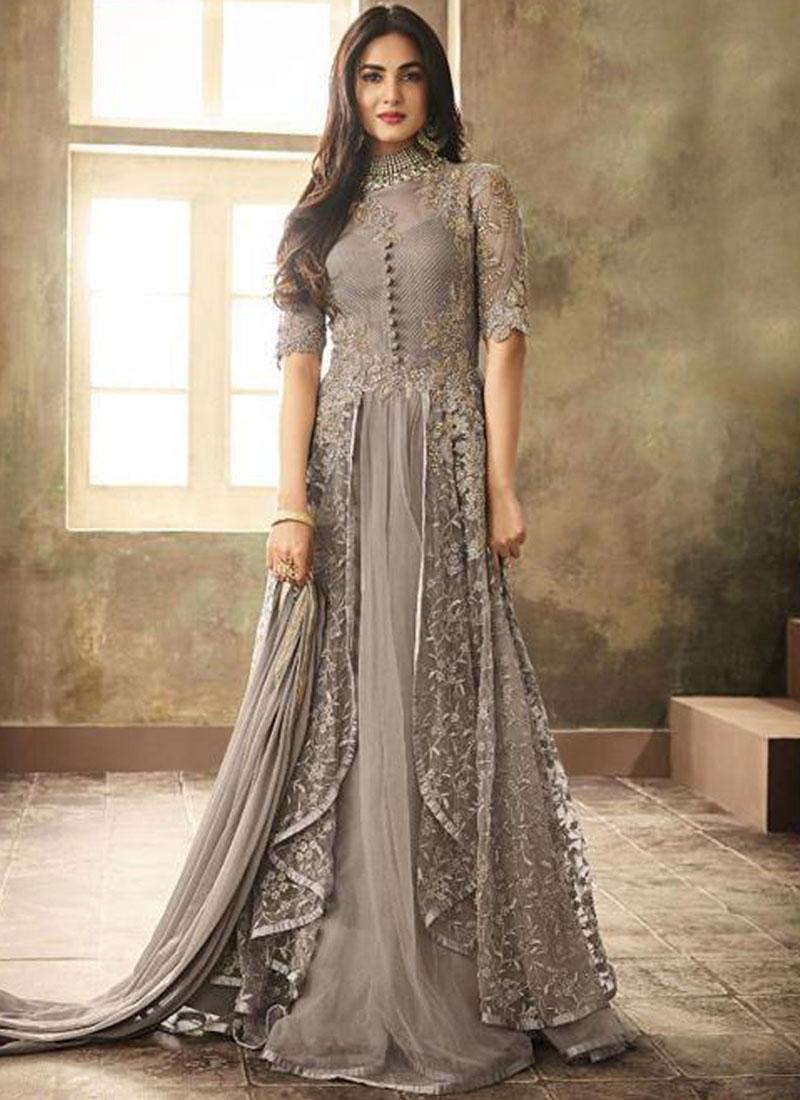 Snazzy Grey Resham Net Floor Length Anarkali Suit