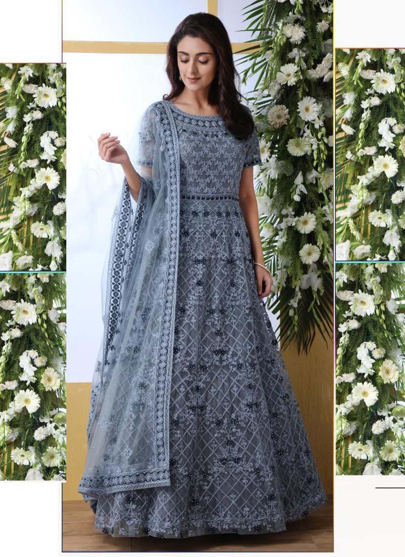 Snazzy Thread Work Grey Net Designer Gown