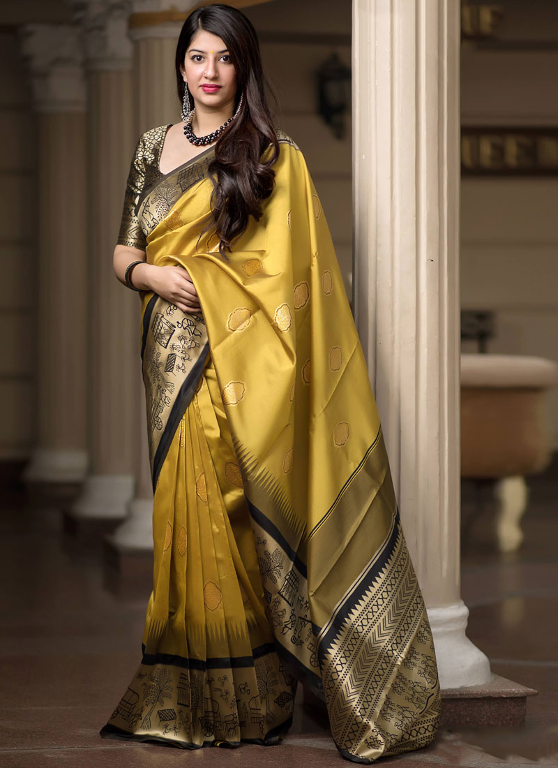 Sonorous Art Silk Mustard Designer Traditional Saree