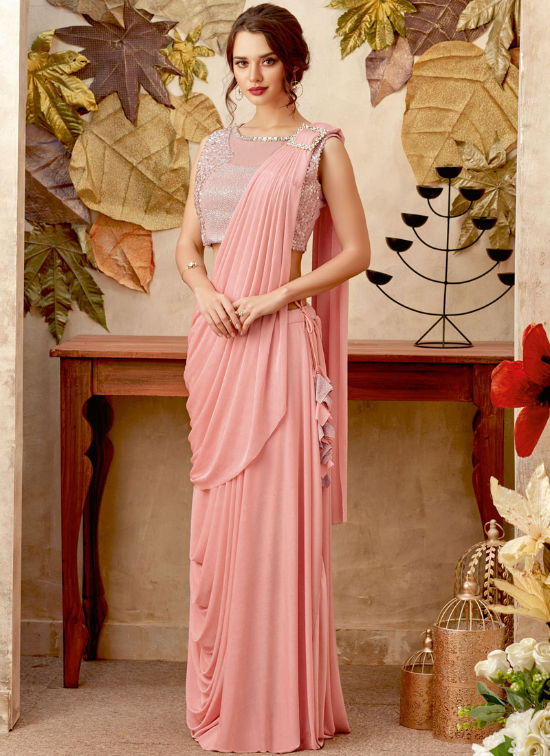 Sophisticated Sequins Pink Lycra Trendy Saree