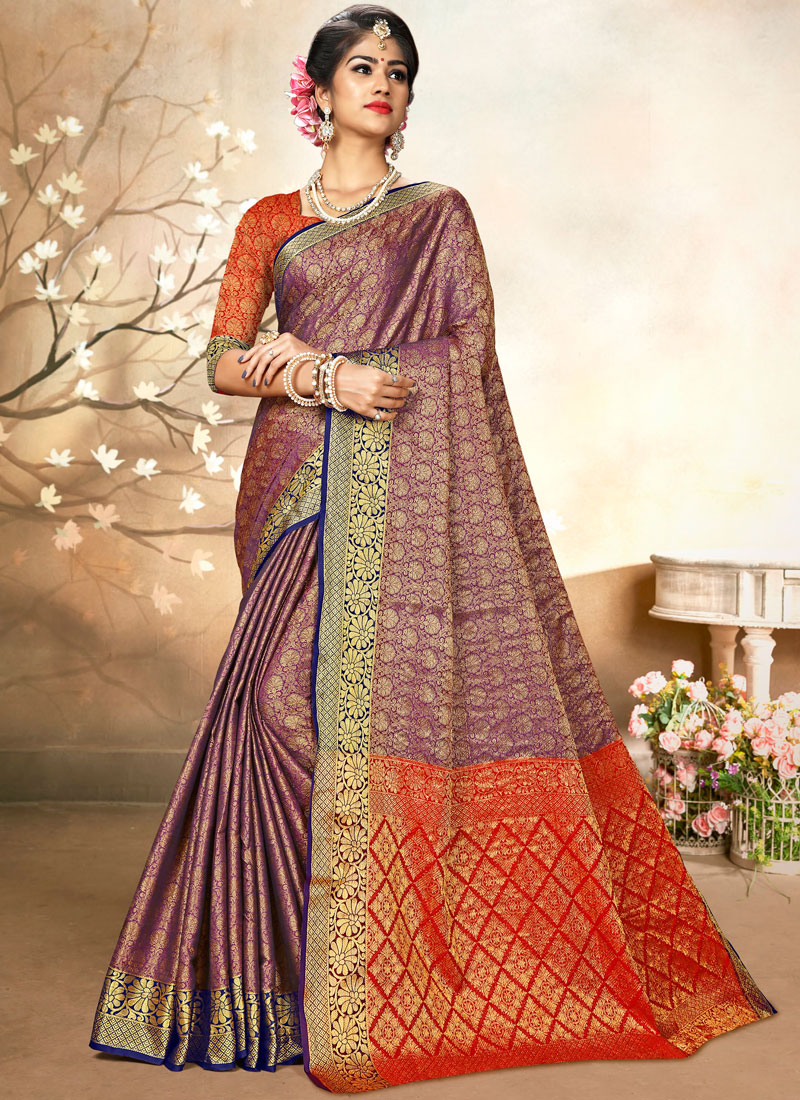 Sorcerous Purple Art Silk Traditional Saree