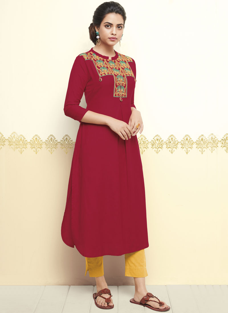 Sorcerous Thread Work Red Cotton   Party Wear Kurti