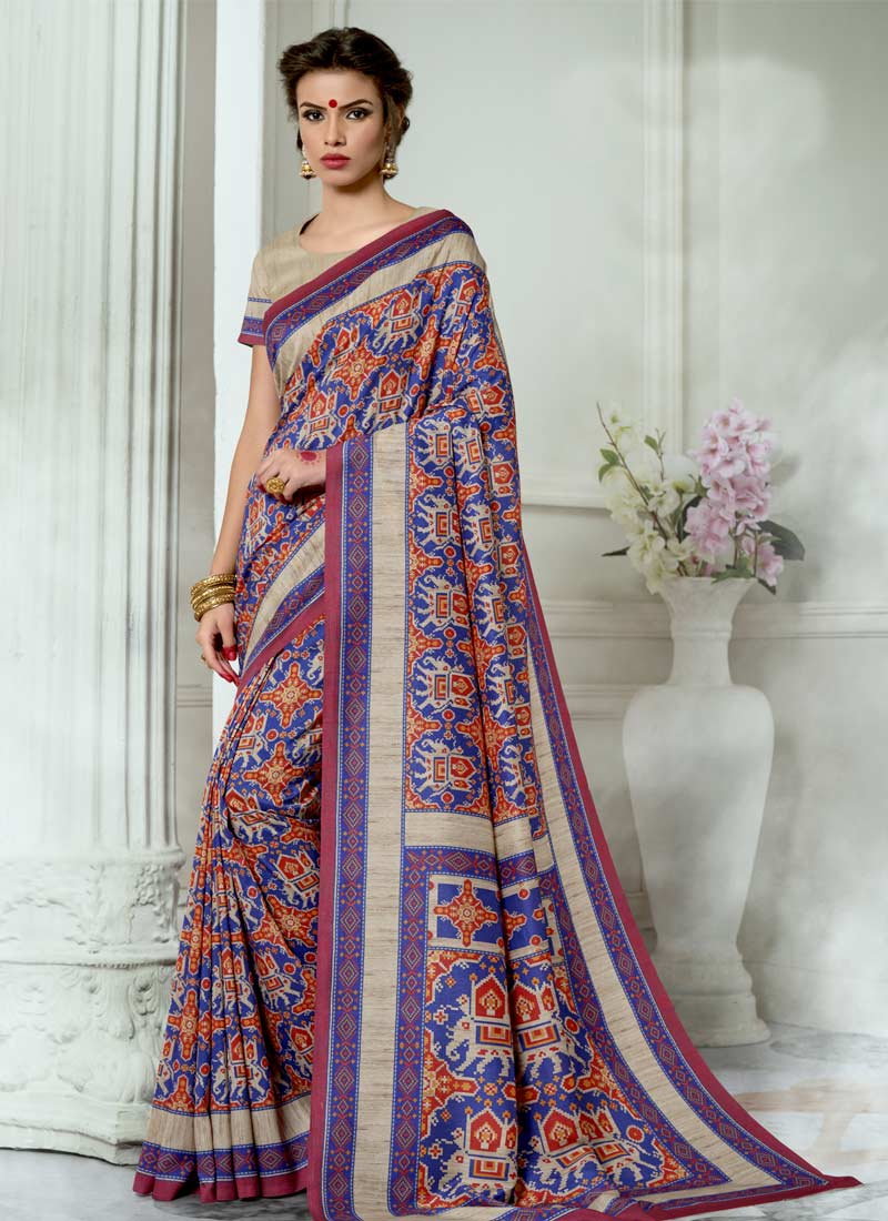 Sparkling Tussar Silk Multi Colour Digital Print Casual Saree