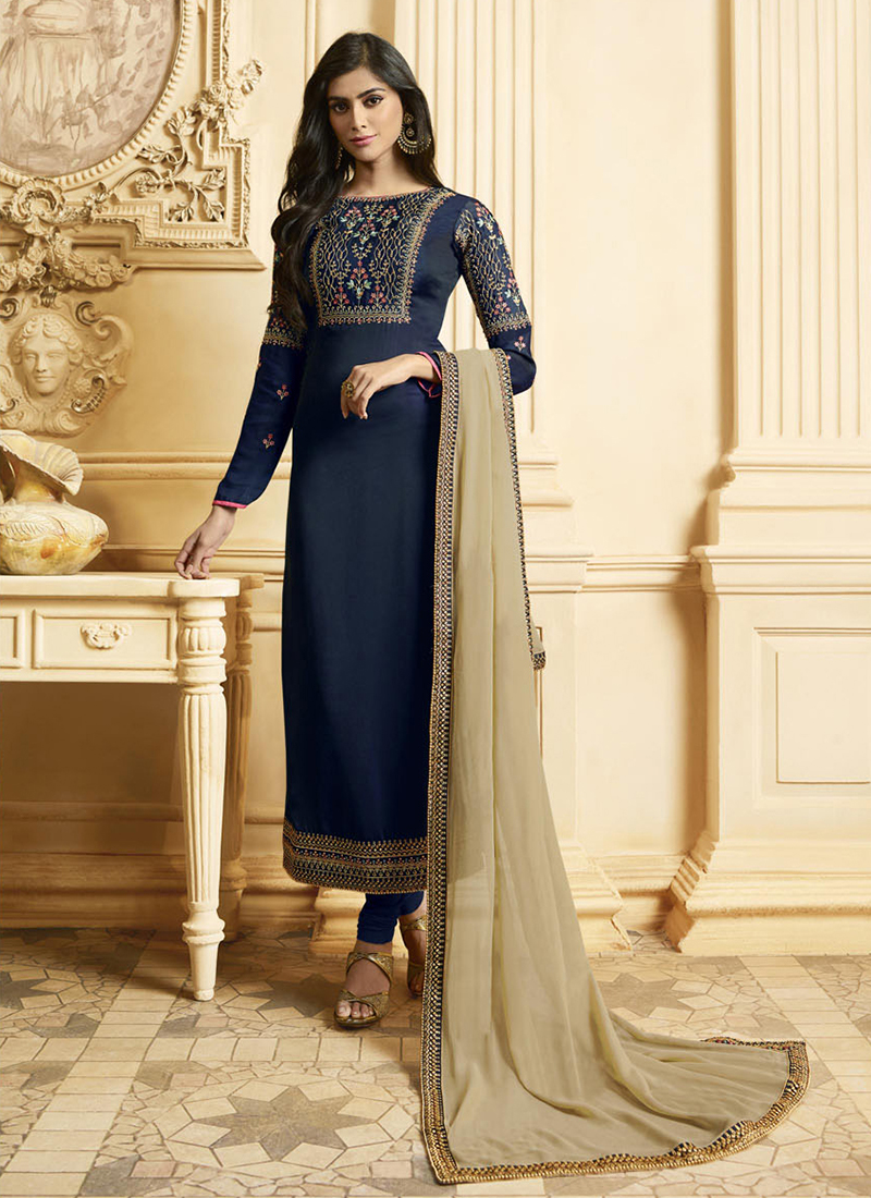daba506aaa Specialised Georgette Satin Navy Blue Embroidered Designer Pakistani Suit.  Hover to zoom