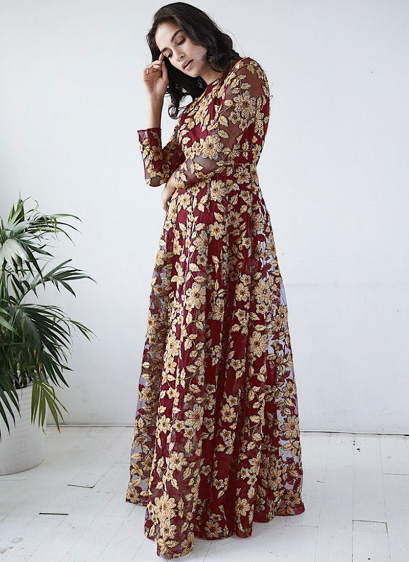 Specialised Net Embroidered Maroon Readymade Gown