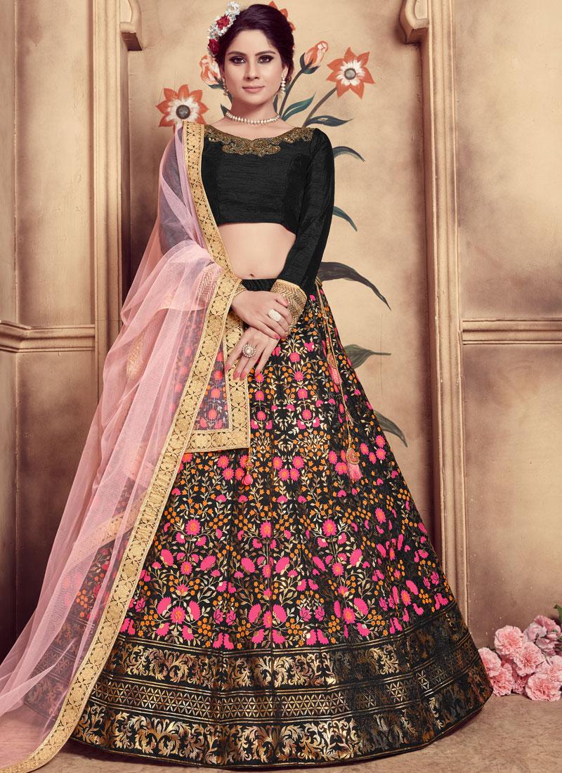 Specialised Sequins Art Silk Black Trendy Lehenga Choli