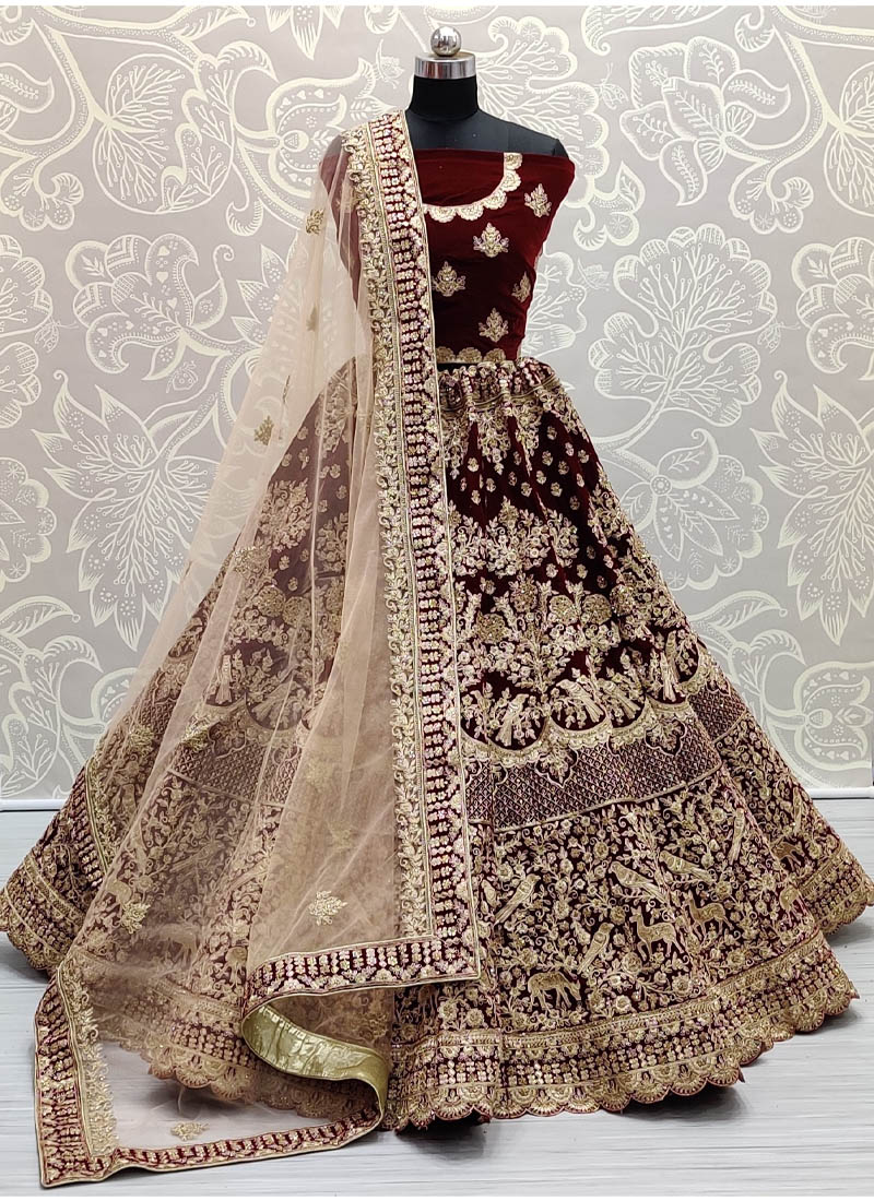 Spectacular Embroidery work Maroon Bridal Lehenga Choli