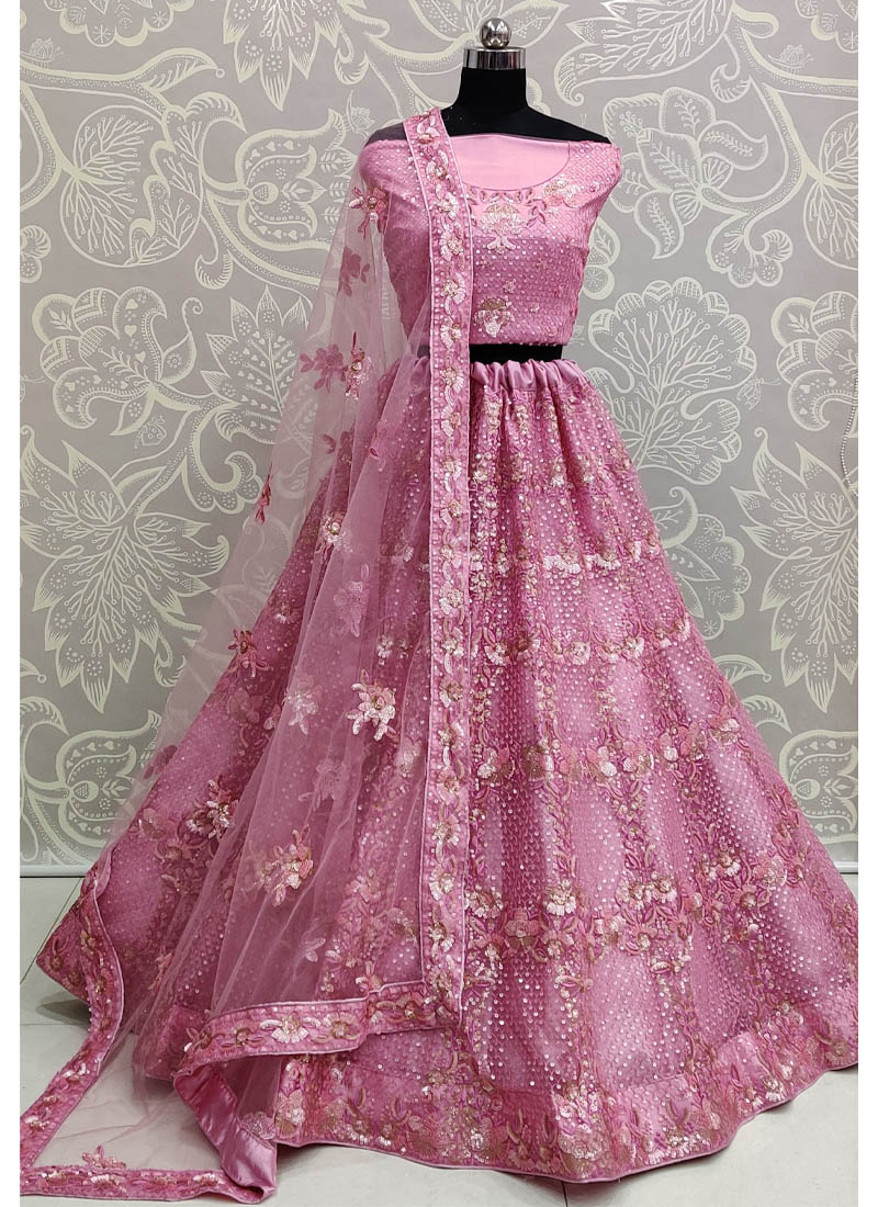 Splendid Blush Pink Exceptionally Embroidered - Double Sequence Work Lehenga Choli