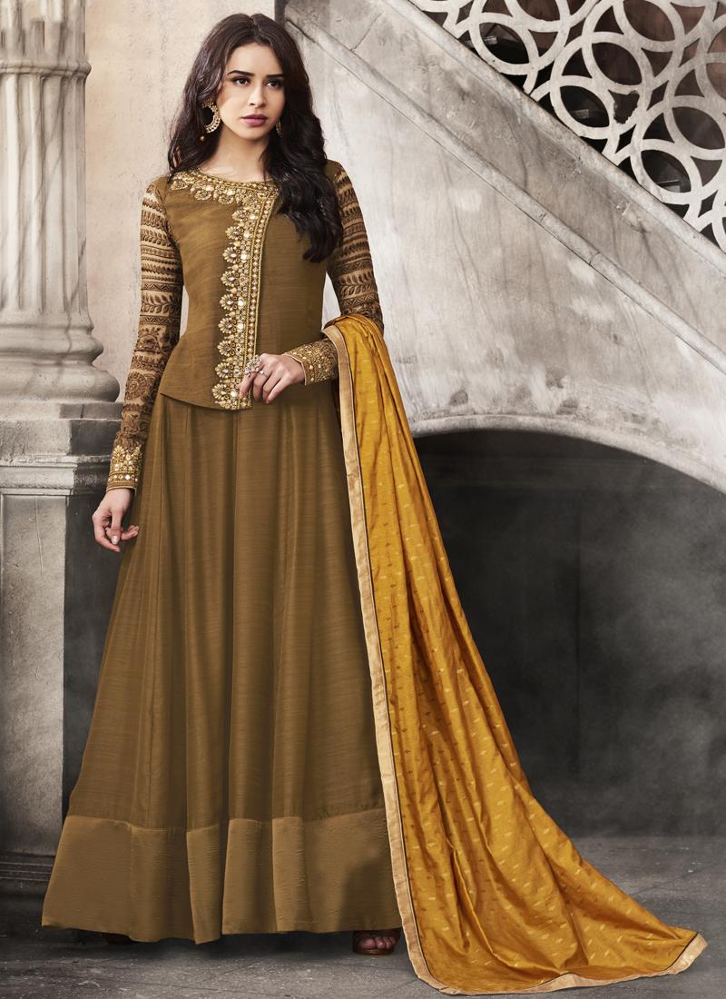 Splendid Brown Anarkali Suit