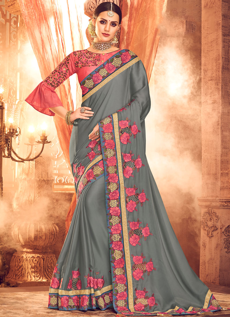 Splendid Embroidered Art Silk Grey Designer Saree