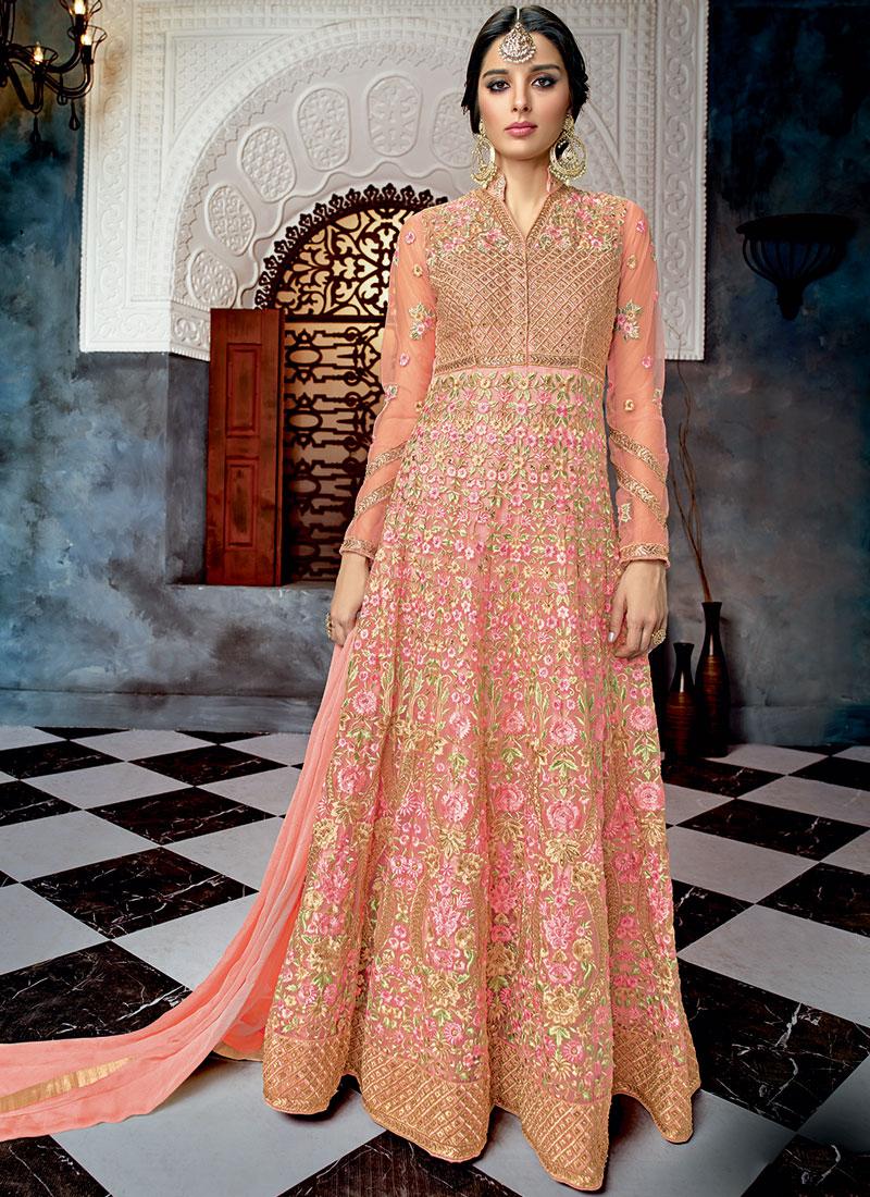 Splendid Pink Floor Length Anarkali Suit