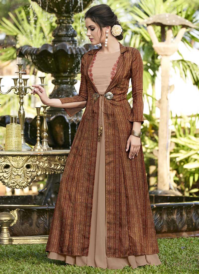 Striking Satin Silk Designer Gown