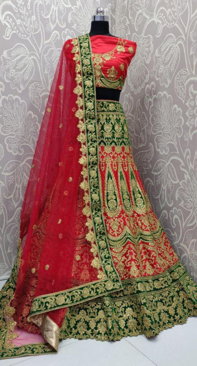 Stunning fishcut flair heavy red and green color matching lehengacholi