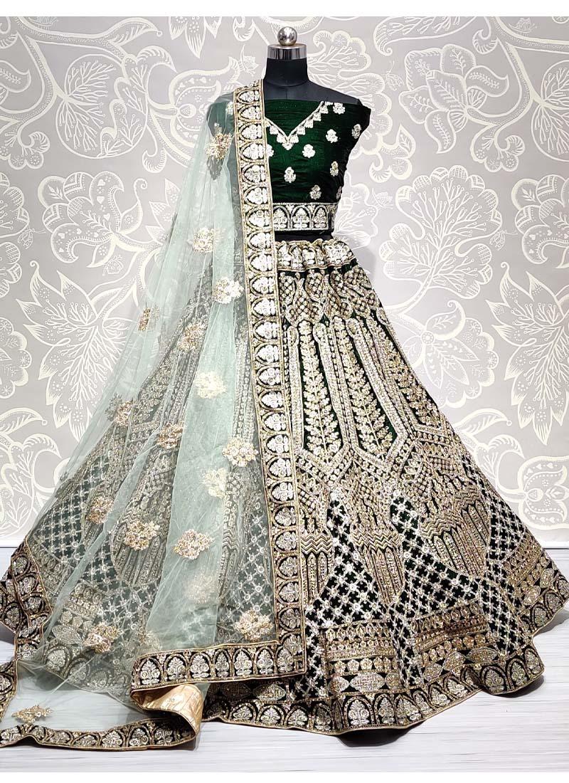 Stunning Green Velvet Designer Bridal Lehenga Choli