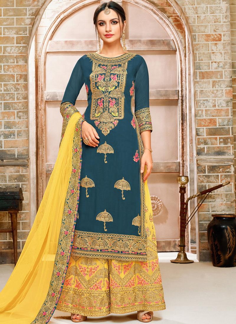 Stupendous Faux Georgette Teal Zari Designer Palazzo Suit