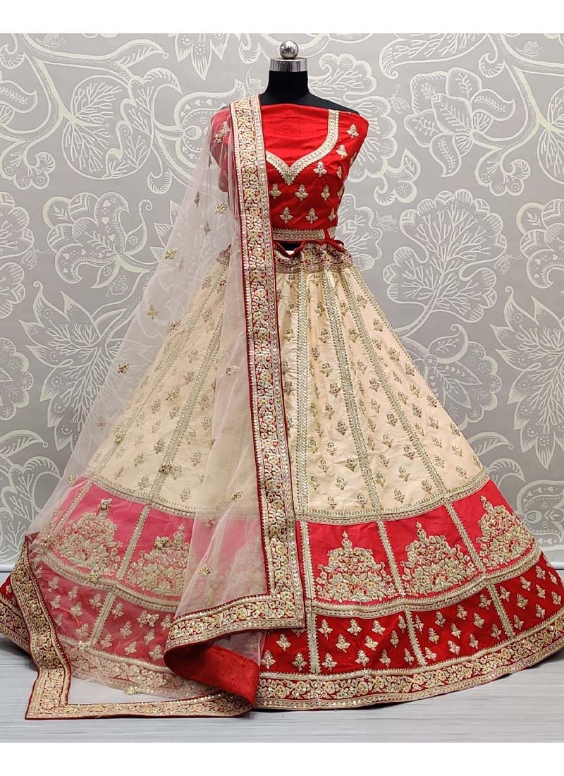 Stupendous Zarkan Touch With Patch Work Panetar Style Lehenga Choli In Cream - Red